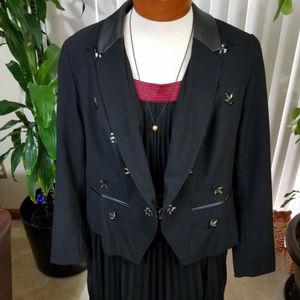 Plus Lane Bryant black blazer faux leather collar